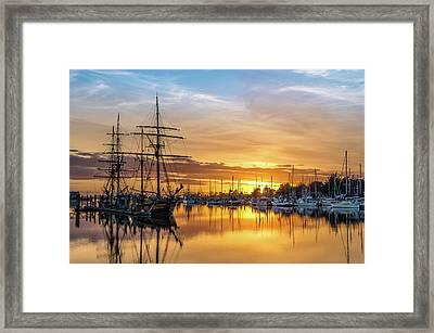 Tall Ships Sunset 1 Framed Print by Greg Nyquist