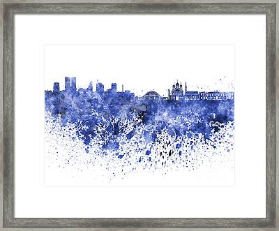Tallinn Skyline In Blue Watercolor On White Background Framed Print by Pablo Romero