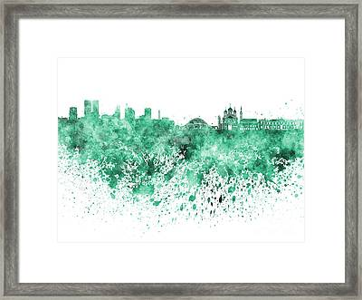 Tallinn Skyline In Green Watercolor On White Background Framed Print by Pablo Romero