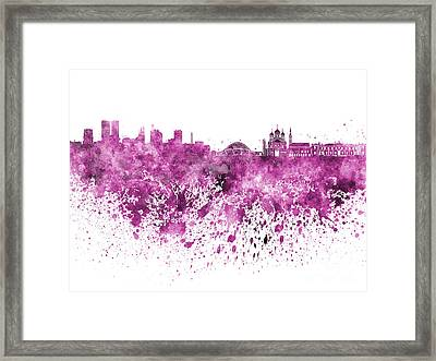 Tallinn Skyline In Pink Watercolor On White Background Framed Print by Pablo Romero