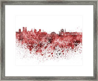 Tallinn Skyline In Red Watercolor On White Background Framed Print by Pablo Romero