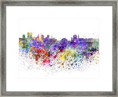 Tallinn Skyline In Watercolor On White Background Framed Print by Pablo Romero