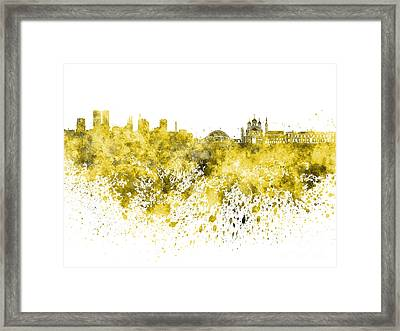 Tallinn Skyline In Yellow Watercolor On White Background Framed Print by Pablo Romero