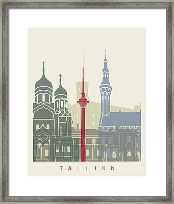 Tallinn Skyline Poster Framed Print