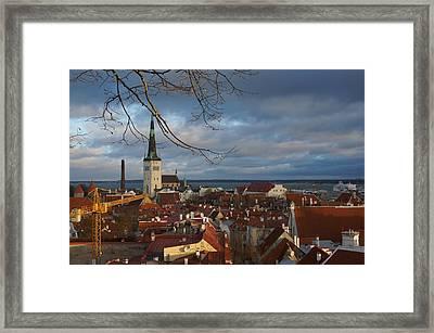 Tallinn With Dramatic Sky Framed Print by Irene Vital