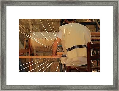Framed Print featuring the photograph Jewish Prayer Shawl Weaving In Tzfat by Yoel Koskas