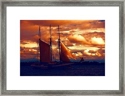 Tallship - Moody Blues And Powerful Oranges Framed Print by Georgia Mizuleva
