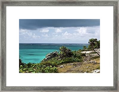 Talum Ruins Mexico Ocean View Framed Print by Douglas Barnett