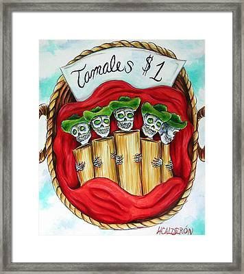 Tamales One Dollar Framed Print by Heather Calderon
