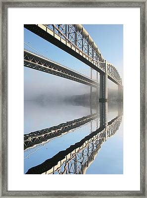 Tamar Road Bridge And Brunel Rail Bridge Framed Print by Mark Stokes