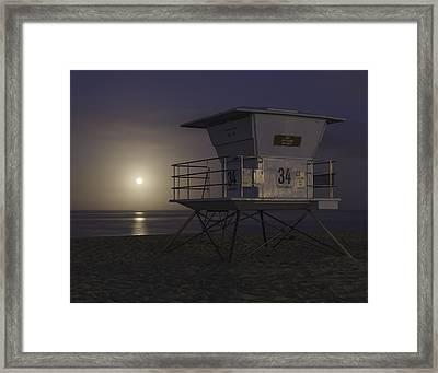 Tamarack Moonset Framed Print