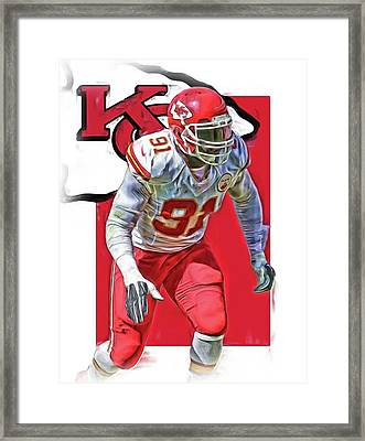 Tamba Hali Kansas City Chiefs Oil Art Framed Print
