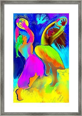 Tambourine Joy 2 Framed Print by Chana Helen Rosenberg