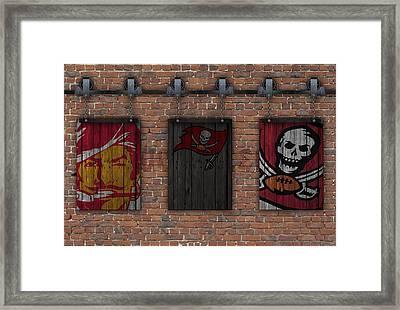 Tampa Bay Buccaneers Brick Wall Framed Print by Joe Hamilton