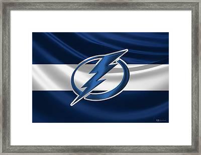 Tampa Bay Lightning - 3 D Badge Over Silk Flag Framed Print
