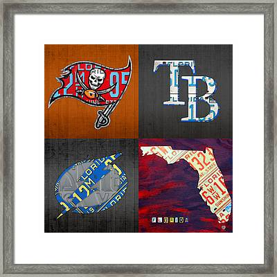 Tampa Bay Sports Fan Recycled Vintage Florida License Plate Art Bucs Rays Lightning Plus State Map Framed Print