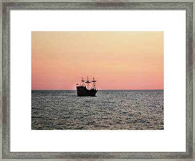 Tampa Bay Sunset 4 Pirate Ship Framed Print by Marilyn Hunt
