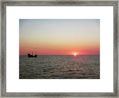 Tampa Bay Sunset 5 Pirate Ship Framed Print by Marilyn Hunt