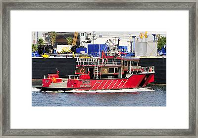 Tampa Fire Rescue Boat Framed Print by David Lee Thompson