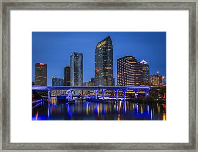 Tampa Night Framed Print by Mike Lang