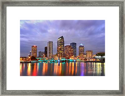 Tampa Skyline At Dusk Early Evening Framed Print by Jon Holiday