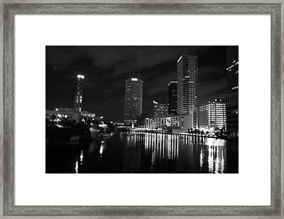 Tampa Skyline West Night Black And White Framed Print by Larry Underwood