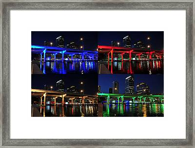 Framed Print featuring the photograph Tampa's Colorful Bridges by David Lee Thompson