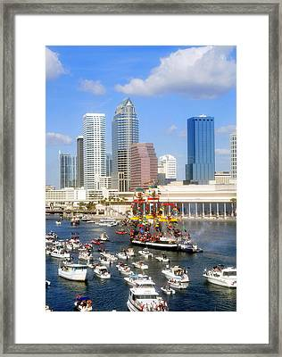 Tampa's Flag Ship Framed Print by David Lee Thompson