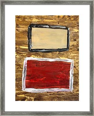 Tan And Red Framed Print