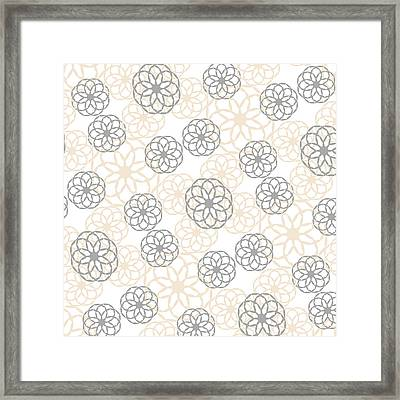 Tan And Silver Floral Pattern Framed Print