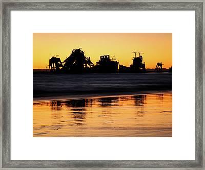 Tangalooma Wrecks Sunset Silhouette Framed Print