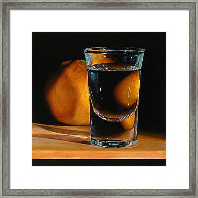Tangerine And Shotglass Framed Print by Jeffrey Hayes
