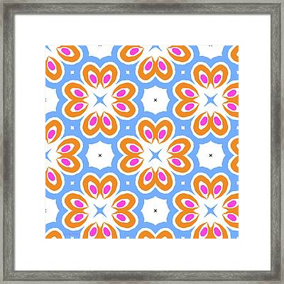 Tangerine And Sky Floral Pattern- Art By Linda Woods Framed Print