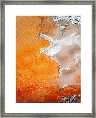 Tangerine Orange Geyser Pool Of Yellowstone Framed Print by The Forests Edge Photography - Diane Sandoval
