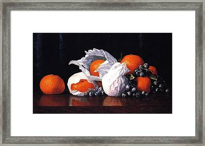 Tangerines In Tissues With Grapes Framed Print