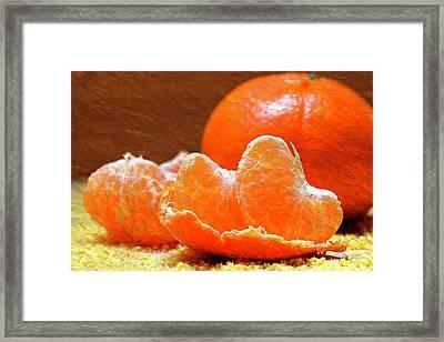 Tangerines Orange Oil Painting Framed Print