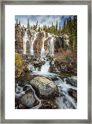 Tangle Waterfall On The Icefield Parkway Framed Print by Pierre Leclerc Photography
