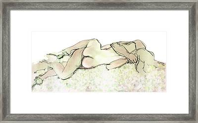 Framed Print featuring the mixed media Tangled Together - Couple In An Embrace by Carolyn Weltman