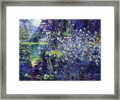 Tangled White Flowers  Framed Print by David Lloyd Glover