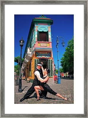 Framed Print featuring the photograph Tango At Caminito by Bernardo Galmarini