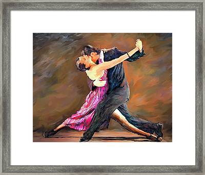 Tango Dance Landscape Art Painting Framed Print by Andres Ramos