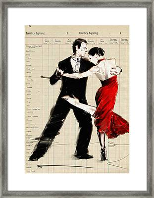 Tango In Black And Red Framed Print by H James Hoff