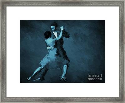 Tango In Blue Framed Print by John Edwards