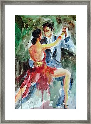 Framed Print featuring the painting Tango In The Night by Faruk Koksal
