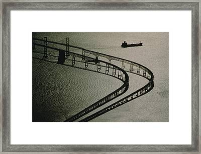 Tanker And Chesapeake Bay Bridge Framed Print by Skip Brown