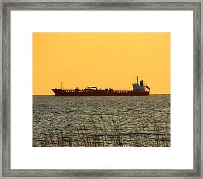 Tanker At Sunrise Framed Print