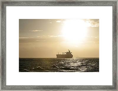 Tanker In Sun Framed Print