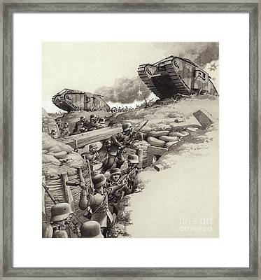 Tanks Roll Over German Trenches During The Great War  Framed Print by Pat Nicolle