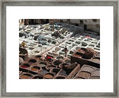 Framed Print featuring the photograph Tanneries At Fez by Erik Falkensteen