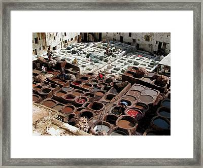 Framed Print featuring the photograph Tanneries At Fez Morocco by Erik Falkensteen